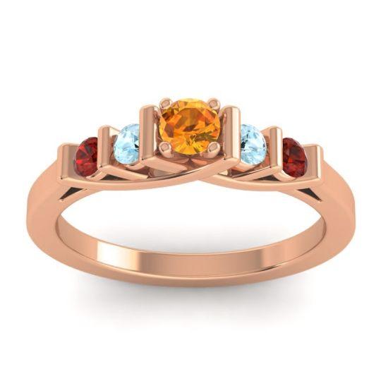 Citrine Petite Sapallava Ring with Aquamarine and Garnet in 14K Rose Gold
