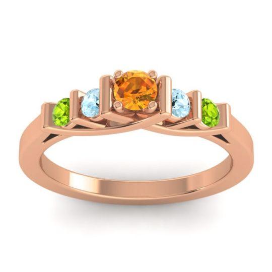 Citrine Petite Sapallava Ring with Aquamarine and Peridot in 14K Rose Gold