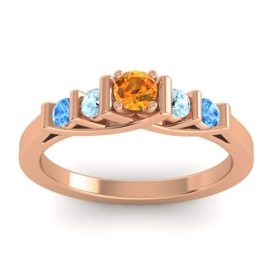 Citrine Petite Sapallava Ring with Aquamarine and Swiss Blue Topaz in 14K Rose Gold