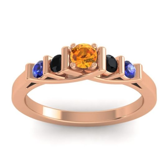 Citrine Petite Sapallava Ring with Black Onyx and Blue Sapphire in 18K Rose Gold