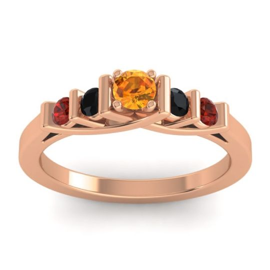 Citrine Petite Sapallava Ring with Black Onyx and Garnet in 14K Rose Gold