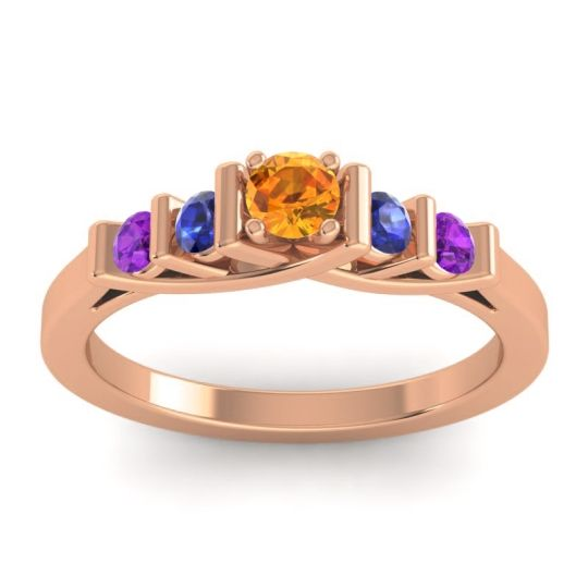 Citrine Petite Sapallava Ring with Blue Sapphire and Amethyst in 14K Rose Gold