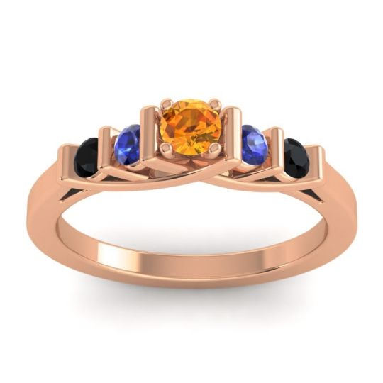 Citrine Petite Sapallava Ring with Blue Sapphire and Black Onyx in 18K Rose Gold