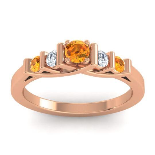 Citrine Petite Sapallava Ring with Diamond in 14K Rose Gold