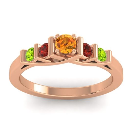 Citrine Petite Sapallava Ring with Garnet and Peridot in 14K Rose Gold