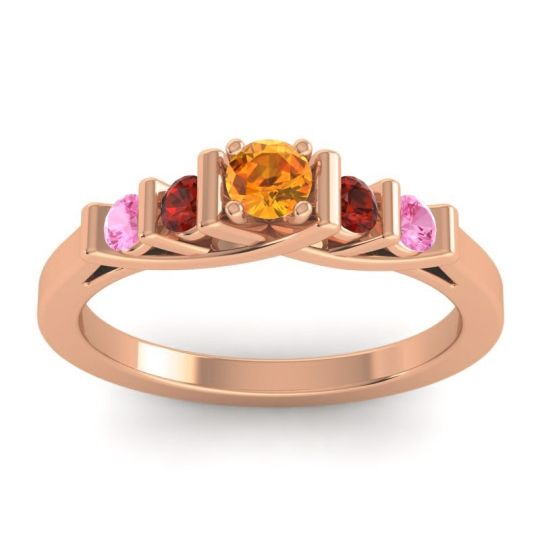 Citrine Petite Sapallava Ring with Garnet and Pink Tourmaline in 14K Rose Gold