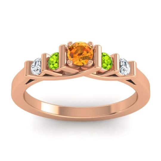 Citrine Petite Sapallava Ring with Peridot and Diamond in 14K Rose Gold