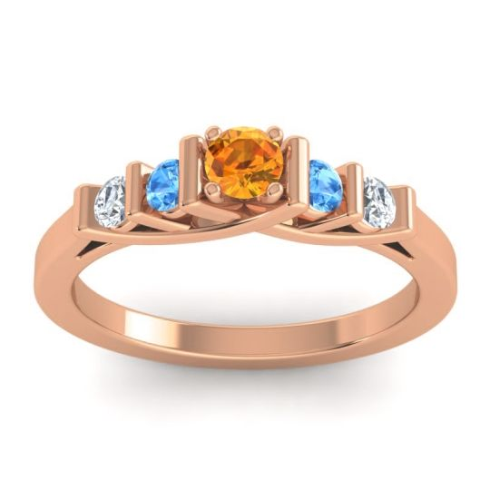 Citrine Petite Sapallava Ring with Swiss Blue Topaz and Diamond in 18K Rose Gold