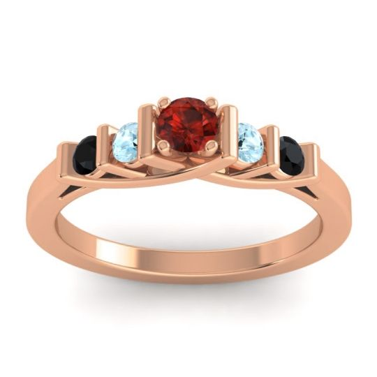 Garnet Petite Sapallava Ring with Aquamarine and Black Onyx in 14K Rose Gold