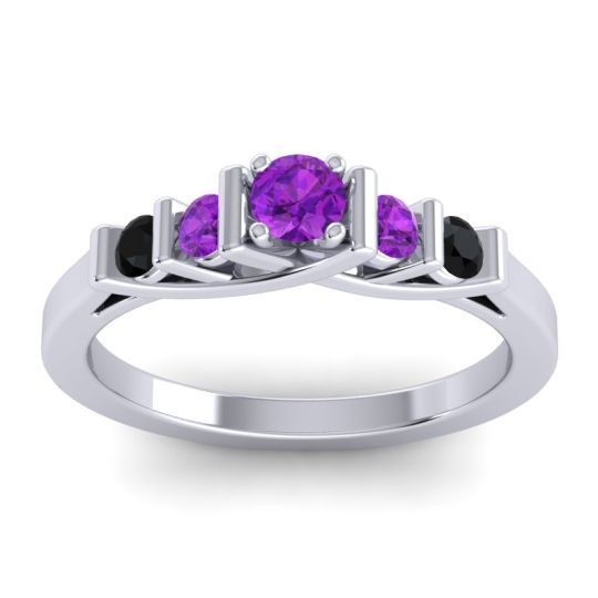 Amethyst Petite Sapallava Ring with Black Onyx in 18k White Gold