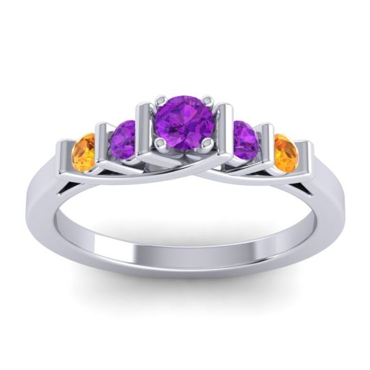 Amethyst Petite Sapallava Ring with Citrine in Platinum