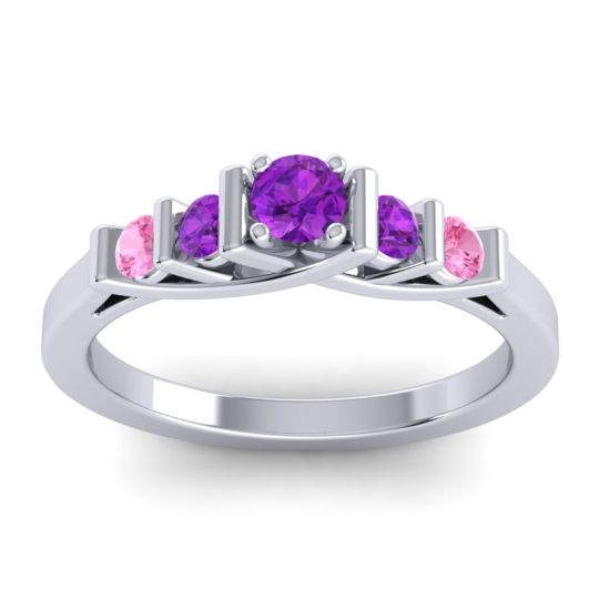 Amethyst Petite Sapallava Ring with Pink Tourmaline in Palladium