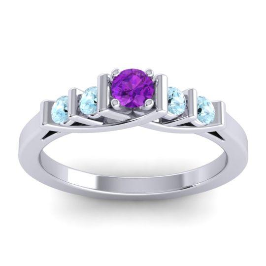 Amethyst Petite Sapallava Ring with Aquamarine in Platinum