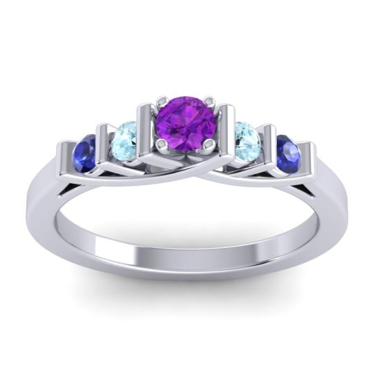 Amethyst Petite Sapallava Ring with Aquamarine and Blue Sapphire in Palladium