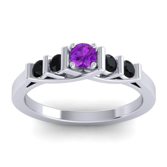 Amethyst Petite Sapallava Ring with Black Onyx in 14k White Gold