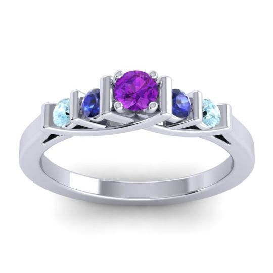 Amethyst Petite Sapallava Ring with Blue Sapphire and Aquamarine in 18k White Gold