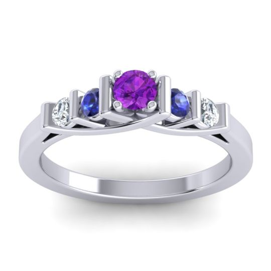 Amethyst Petite Sapallava Ring with Blue Sapphire and Diamond in 14k White Gold