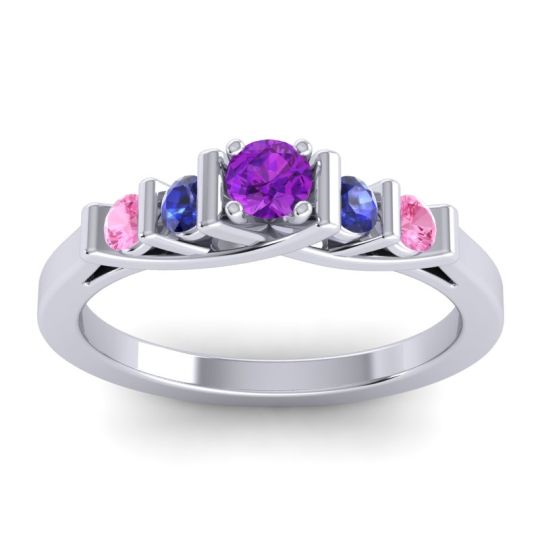 Amethyst Petite Sapallava Ring with Blue Sapphire and Pink Tourmaline in 14k White Gold