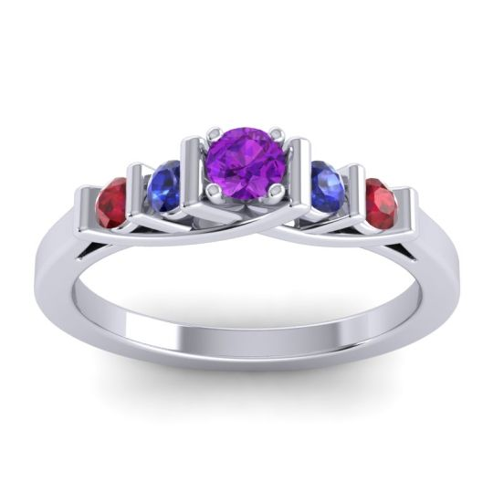 Amethyst Petite Sapallava Ring with Blue Sapphire and Ruby in 14k White Gold