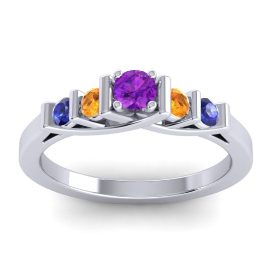 Amethyst Petite Sapallava Ring with Citrine and Blue Sapphire in 18k White Gold