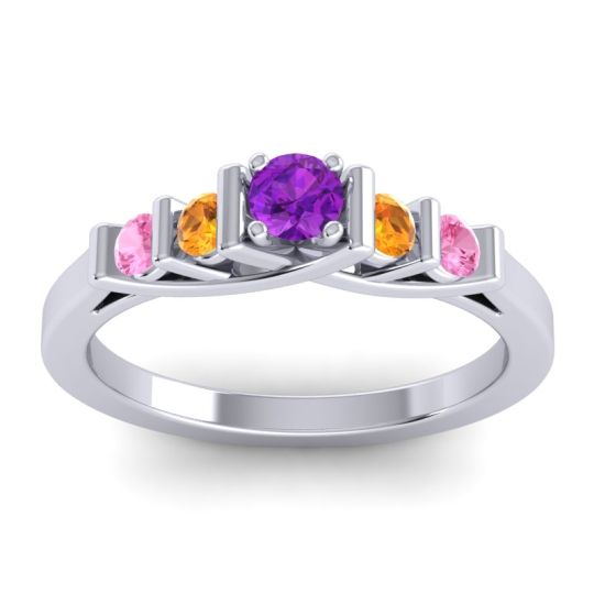 Amethyst Petite Sapallava Ring with Citrine and Pink Tourmaline in 18k White Gold