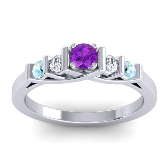 Amethyst Petite Sapallava Ring with Diamond and Aquamarine in 14k White Gold