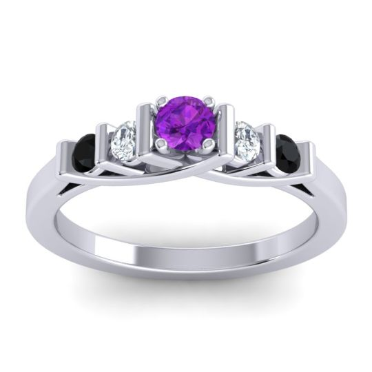 Amethyst Petite Sapallava Ring with Diamond and Black Onyx in 14k White Gold