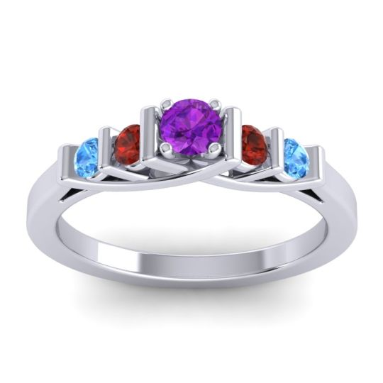 Amethyst Petite Sapallava Ring with Garnet and Swiss Blue Topaz in Palladium