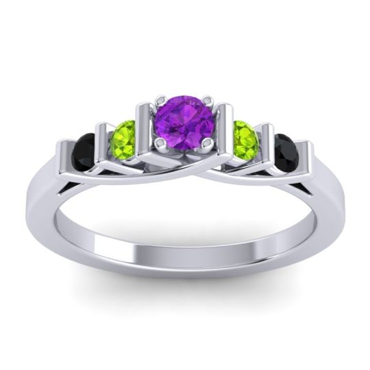 Amethyst Petite Sapallava Ring with Peridot and Black Onyx in 18k White Gold