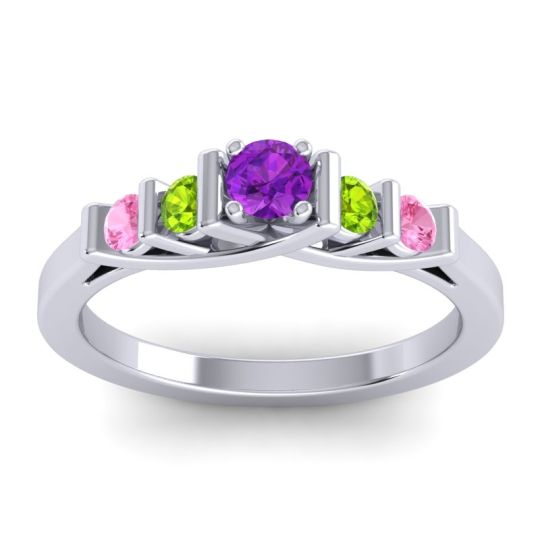 Amethyst Petite Sapallava Ring with Peridot and Pink Tourmaline in 14k White Gold