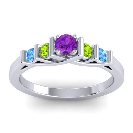 Amethyst Petite Sapallava Ring with Peridot and Swiss Blue Topaz in Platinum