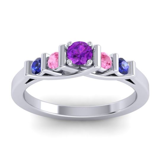 Amethyst Petite Sapallava Ring with Pink Tourmaline and Blue Sapphire in Palladium