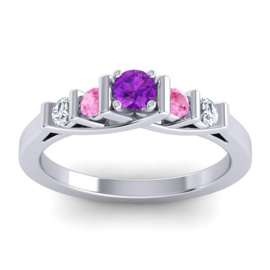Amethyst Petite Sapallava Ring with Pink Tourmaline and Diamond in 18k White Gold