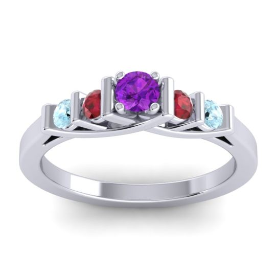 Amethyst Petite Sapallava Ring with Ruby and Aquamarine in 18k White Gold