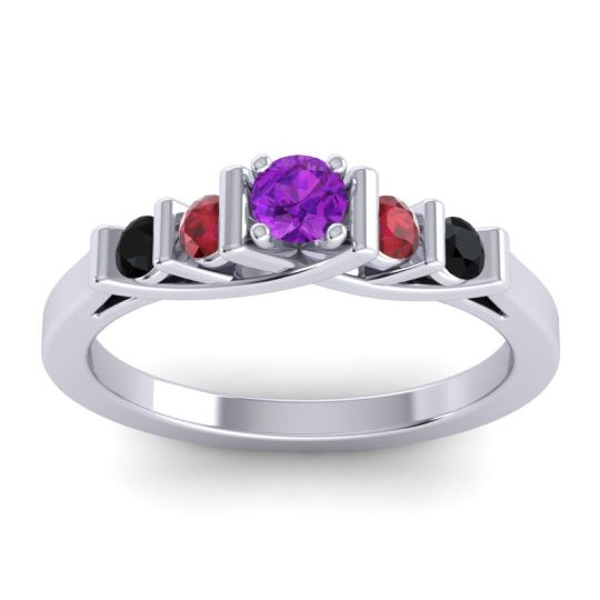 Amethyst Petite Sapallava Ring with Ruby and Black Onyx in Platinum