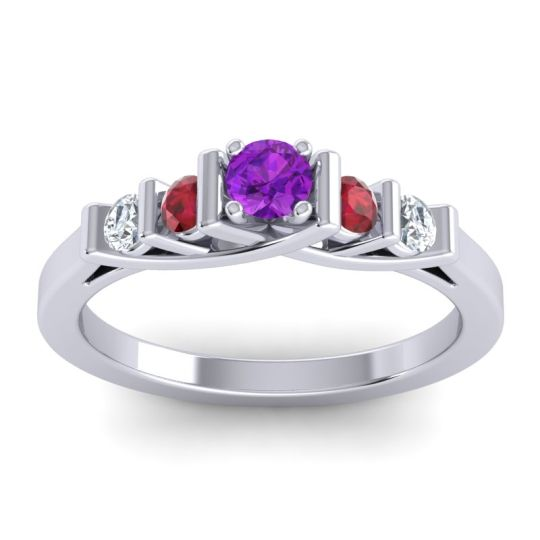 Amethyst Petite Sapallava Ring with Ruby and Diamond in Palladium