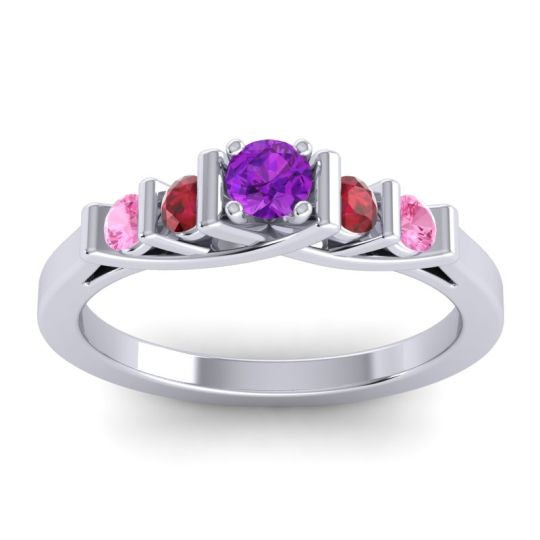 Amethyst Petite Sapallava Ring with Ruby and Pink Tourmaline in 14k White Gold