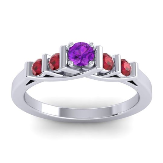 Amethyst Petite Sapallava Ring with Ruby in Platinum