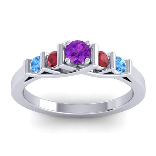 Amethyst Petite Sapallava Ring with Ruby and Swiss Blue Topaz in Palladium