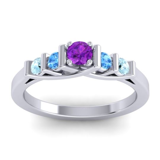 Amethyst Petite Sapallava Ring with Swiss Blue Topaz and Aquamarine in 14k White Gold