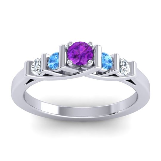 Amethyst Petite Sapallava Ring with Swiss Blue Topaz and Diamond in Platinum