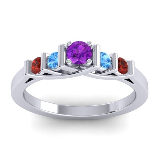 Amethyst Petite Sapallava Ring with Swiss Blue Topaz and Garnet in 18k White Gold