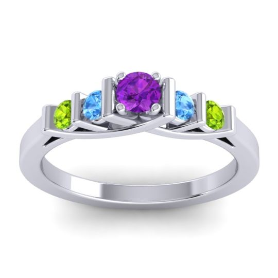 Amethyst Petite Sapallava Ring with Swiss Blue Topaz and Peridot in Platinum