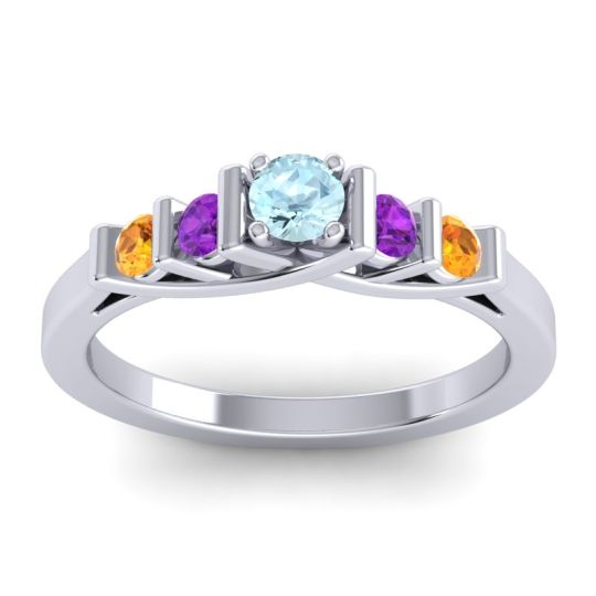 Aquamarine Petite Sapallava Ring with Amethyst and Citrine in 18k White Gold