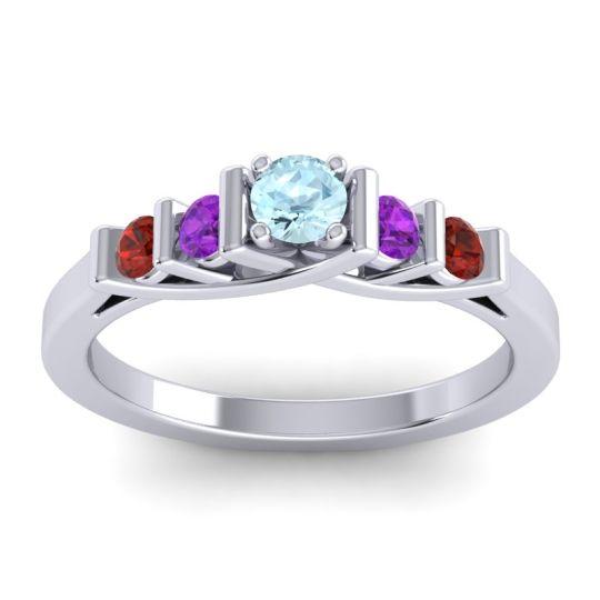 Aquamarine Petite Sapallava Ring with Amethyst and Garnet in Platinum