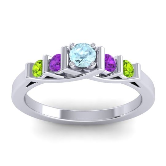 Aquamarine Petite Sapallava Ring with Amethyst and Peridot in 18k White Gold