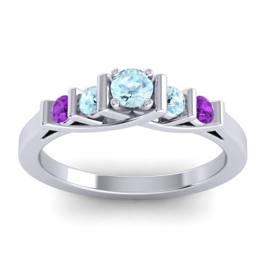 Aquamarine Petite Sapallava Ring with Amethyst in 14k White Gold