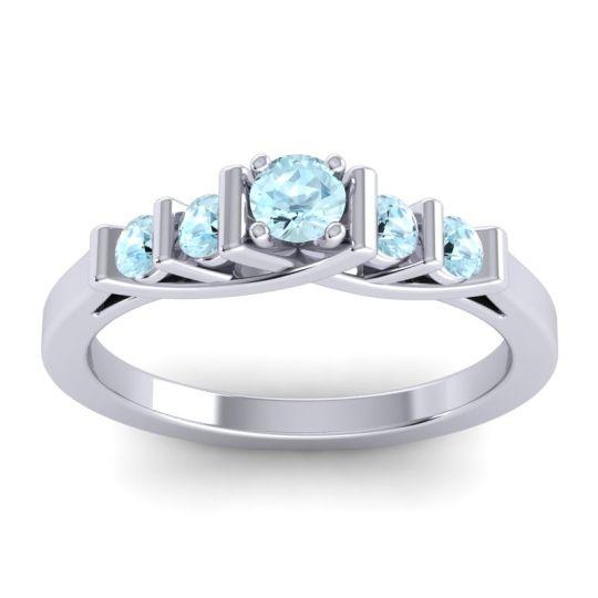 Aquamarine Petite Sapallava Ring in Platinum