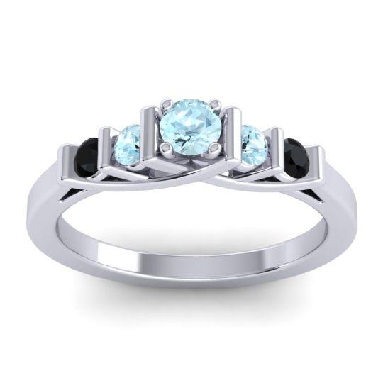 Aquamarine Petite Sapallava Ring with Black Onyx in Platinum