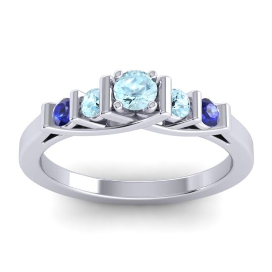 Aquamarine Petite Sapallava Ring with Blue Sapphire in 14k White Gold